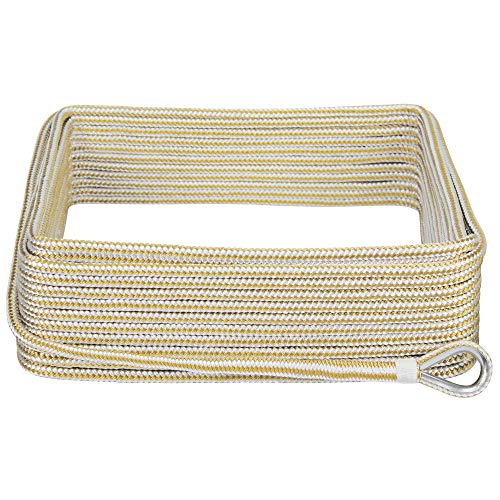 """Extreme Max 3006.2042 BoatTector Premium Double Braid Nylon Anchor Line with Thimble - 3/8"""" x 100', White & Gold"""