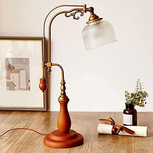 Lámpara de mesa retro estilo mediados de siglo, lámpara de escritorio de madera maciza, lámpara de escritorio de lectura moderna para dormitorio, sala de estar, luz de dormir luz de noche