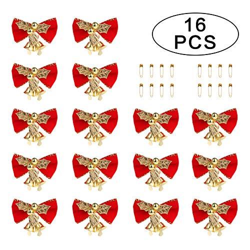 MORFONG - Set de 16 Arcos navideños con Campana y Lazo para árbol de Navidad, decoración (con imperdible de...
