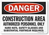 SmartSign - S-8968-AL-14 'Danger - Construction Area, Authorized Personnel Only' Sign | 10' x 14' Aluminum Black/Red on White