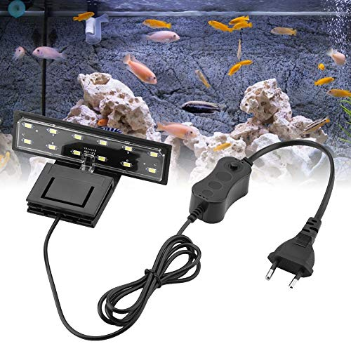Éclairage Aquarium LED 5W Clipsable Lampe Plante d'eau Douce ou Mer, Aquarium Luminaires D'éclairage étanche Fish Tank (Lumière Blanche)