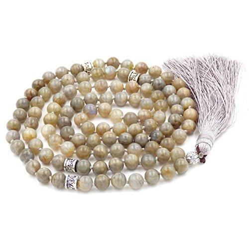 Mala Beads Necklace, Mala Bracelet, Buddhist Prayer Beads Necklace, Tassel Necklace (Labradorite)
