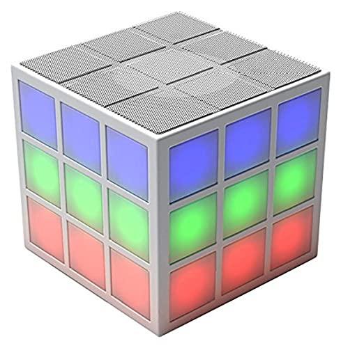 Der Rubik\'s Bluetooth LED Lautsprecher mit integriertem 360 Grad Licht-Effekt - die perfekte Musikanlage für unterwegs oder auf Parties - weiß