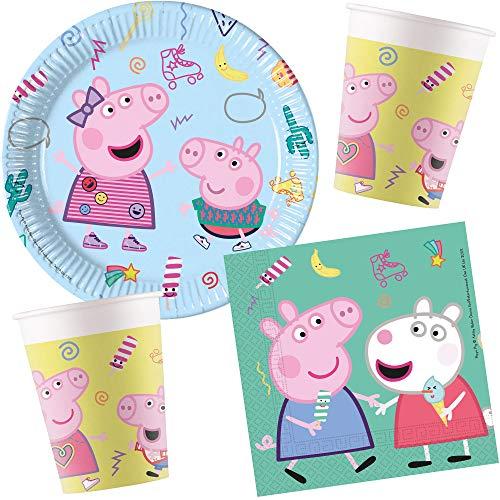 Juego de 37 piezas * Peppa Pig * para cumpleaños infantiles o fiestas temáticas con platos de papel + servilletas + vasos + globos, decoración desechable para niños, cerdo