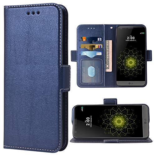 Phone Case for LG G5 Folio Flip Wallet Case,PU Leather Credit Card Holder Slots Full Body Protection Kickstand Hard Hybrid Protective Phone Cover for LGG5 SE LG5 G 5 5G Cases Women Men Dark Blue