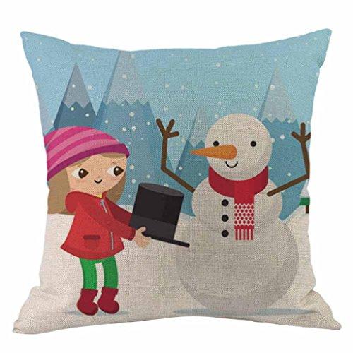 Kissenbezug Kolylong® 1 PC 45cm x 45cm Weihnachten Drucken Kissenbezug für Dekoration Sofa Bett Heimtextilien Haus Deko Festival Kissen Christmas Pillowcase (C, Multicolor)
