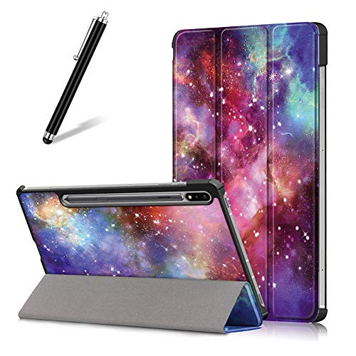 Artfeel Hülle für Samsung Galaxy Tab S7 11 Zoll 2020 T870/T875,Ultra Dünn Leicht Leder Smart Klapphülle Dreifach Ständer Schutzhülle Auto Wach/Schlaf Flip Magnetisch Abdeckung,Milchstraße
