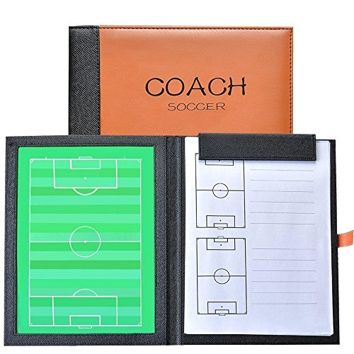 Firelong Football Soccer Coaches Tactics Board, Tactical Layout Notebook, PU Leather Cover, Dry-Erase Strategy Board Clipboard with NotePage