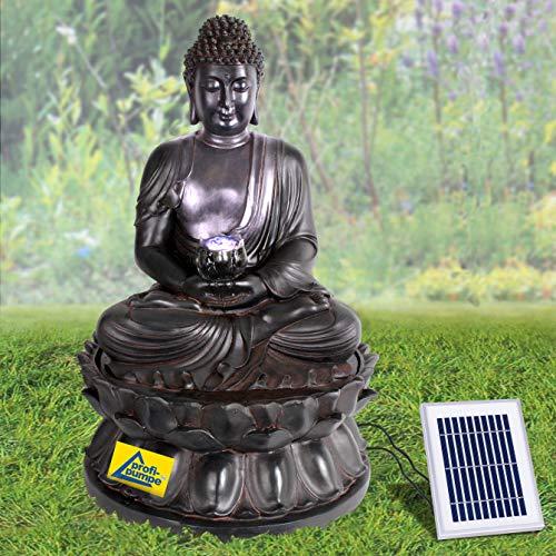 Gartenbrunnen Solarbrunnen Zen Brunnen Buddha-Eternity Vogelbad Wasserfall, Gartendeko mit Pumpe, Wasserspiel für Garten Terrasse, Balkon, Sehr Dekorativ, Led-Licht-Gartenleuchte
