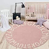 HEBE 5.25ft Round Kids Rug ABC Alphabet Baby Crawling Mat Soft Educational Non-Slip Nursery Rug Play Mat Circle Floor Carpet for Kids Room Teepee Tent,Pink
