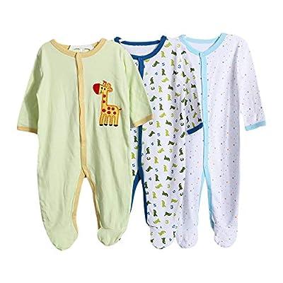 ZEVONDA Body para Bebés Niños y Niñas - Manga Corta/Manga Larga/Sin Mangas Pijamas de Algodón Pack de 5 o Pack de 3