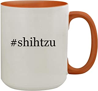 #shihtzu - 15oz Hashtag Colored Inner & Handle Ceramic Coffee Mug, Orange