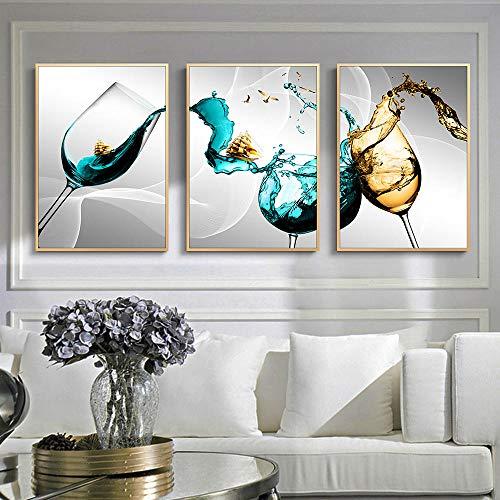 HXLZGFV Decoración de Pared Póster de Lienzo de Vidrio Copa de Vino Imágenes artísticas de Pared para Cocina Diseño del hogar Impresiones de Lienzo Azul Arte de la Pared -40x60cmx3Pcs-Sin Marco