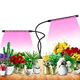 Grow Light for Indoor Plant Growing LED Grow Light 9 Dimmable Settings, Horizontal Plant Growth Lamp for Indoor Plants with Red/Blue Spectrum, Adjustable Gooseneck, 3/9/12H Timer, 3 Switch Modes