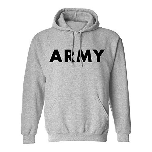 Army Hooded Sweatshirt in Gray - Large