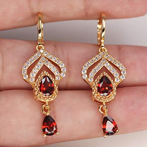 Pendientes Colgantes Largos de Moda para Mujer, Pendiente de Color Dorado con Gota deAgua, joyería de circonita roja para Fiesta de Boda