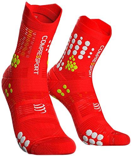 COMPRESSPORT Compress Port Hombre Trail Sock Red/White Unidad de compresión Calcetines, Rojo/Blanco, T4