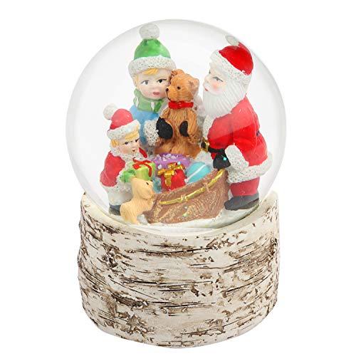 BELLE VOUS Schneekugel Weihnachten - 14cm Weihnachtsdeko Schnee Kugel Schneewirbel mit Weihnachtsmann, Kinder und Hund aus Birkenholz als Glitzerschnee Tischdeko