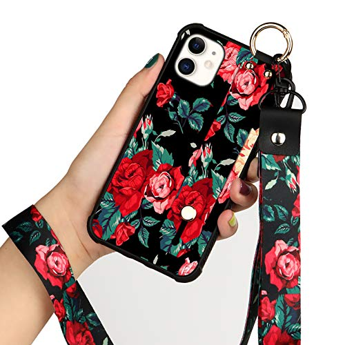 KANGHAR iPhone 12 Mini Case Flower Floral Shell Wrist Strap Lanyard Cover for Apple iPhone 12 Mini 5.4 INCH 2020 5G (Red Rose Flower)