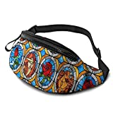 marsupio fanny pack for women men small waist pouch slim belt bag beauty and beast fairytale glass for running travelling hiking walking lightweight crossbody chest bag fit all phones