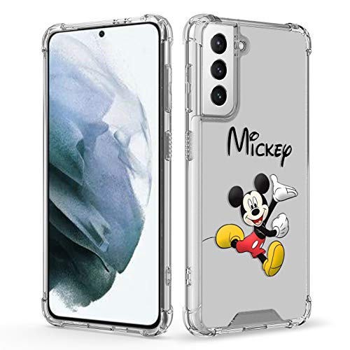 DISNEY COLLECTION Galaxy S21 Plus Case Mickey Mouse Clear,TPU+PC Slim Shockproof Transparent Bumper Protective Cute Cover Phone Case for Samsung Galaxy S21 Plus