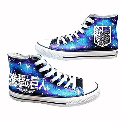 Telacos Attack On Titan Shingeki no Kyojin Cosplay Zapatos Lienzo Zapatos Zapatillas Luminoso, Azul