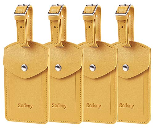 Sodsay Leather 4 Luggage Tag Baggage Bag Travel Tags with Privacy Flap (Arya Yellow)