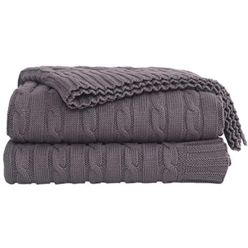 AGOOL 毛布 ブランケット 掛け毛布 ひざ掛け ソフト 綿100%純粋綿 エアコン対策 大判(グレー、130x180cm)