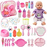 SOTOGO 34 Pieces Baby Doll Care Set Doll Feeding and Changing Accessories Set Baby Doll Accessories in Bag, Without Doll