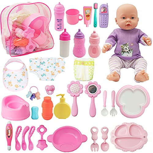 SOTOGO 34 Pieces Baby Doll Care Set Doll Feeding and Changing...