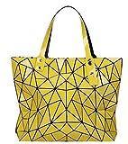 Ulalaza Bolso de mano con celosía luminosa geométrica, bolso cruzado con cadena, bolsos de mano, bolsos holográficos para mujer