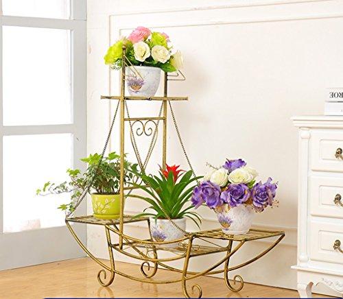 William 337 Stand de fleur en fer forgé fleur Stand-debout pot Rack Type de bateau Salon balcon intérieur et extérieur Stand de plante (Couleur : D)