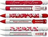 Greeting Pen Love Pens with Rotating Messages, 6 Pen Assortment includes: Red True Love, Kiss, White with Magenta Hearts (36569)