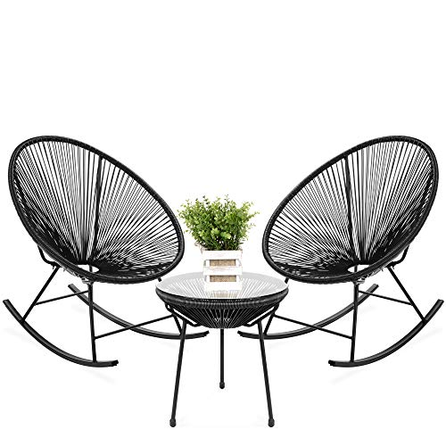 Best Choice Products 3-Piece Outdoor Acapulco All-Weather Woven Rope Patio Conversation Bistro Set w/Glass Top Table and 2 Rocking Chairs - Black