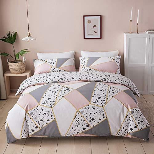 Nyescasa Bettwäsche Baumwolle 200x200 Rosa Grau Weiß Geometrisch Marmor Muster Bettbezug Set Bettdeckenbezug Doppelbett mit Reißverschluss und 2 Kissenbezüge 80x80cm