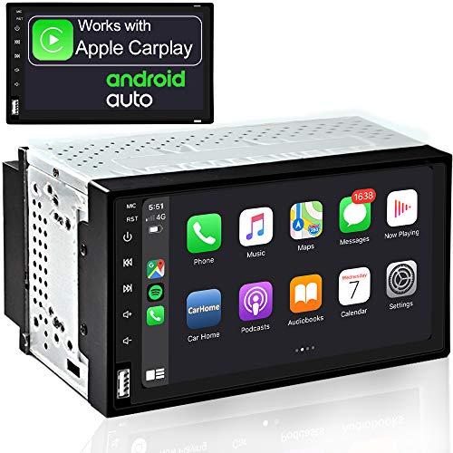 OLEDPRO Coche Audio Cabezal estéreo Wireless CarPlay & Wired Android Auto 7 Pulgadas HD Pantalla táctil con Bluetooth Am/FM RDS Radio 2 DIN Coche Multimedia