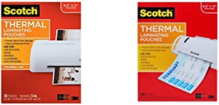 Scotch Thermal Laminating Pouches, 8.9 x 11.4-Inches, 5 mil thick, 50-Pack (TP5854-50) & Thermal Laminating Pouches, 8.9 x 11.4 -Inches, 3 mil thick, 100-Pack (TP3854-100)