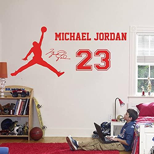 NBA Basketball Sports Star Player Michael Jordan # 23 MJ Logo Signature Adhesivo de pared Vinilo Calcomanía para coche Boy Fans Dormitorio Sala de estar Club Decoración para el hogar Mural