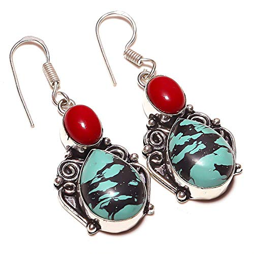 Blue Turquoise Red Coral Multi-Stone Handmade EARRING 2' Long Silver Plated! Jewelry from Kashish! All Variety Store all Occasions