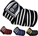 Sedroc Sports Professional Weight Lifting Elbow Wraps Powerlifting Support Sleeves - Pair (Black/White)