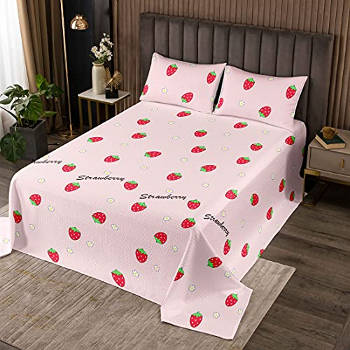 Loussiesd Erdbeere Tagesdecke Mädchen Kawaii Erdbeere Drucken Steppdecke 220x240cm für Kinder Teens Rosa Streifen Bettüberwurf Atmungsaktiv Süße Frucht Bettüberwurf Zimmerdekor