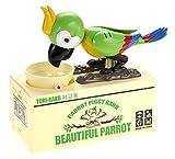 PowerTRC Beautiful Parrot Coin Saving Bank | Piggy Bank | Money Box for Kids | Robot Bird | Green