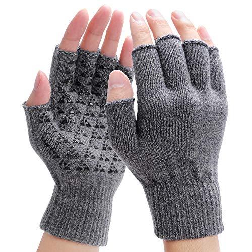 Fingerlose Handschuhe - Winter Warme Handschuhe Fäustlinge Rutschfeste Gestrickte thermo Handschuhe Sport Handschuhe mit Anti-Rutsch-Klebe Als Geschenk - Einheitsgröße, Hellgrau