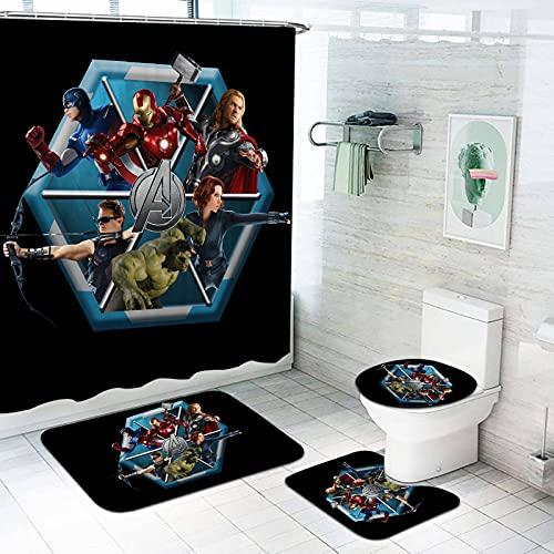 Bfrdollf Shower Curtains Ensemble de rideaux de douche Avengers Marvel Captain America Spider Man Shower Hulk Curtains Tapis de bain imperméable 4 pièces (1,180 x 180 cm)