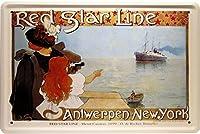 赤い星ラインアントワープニューヨーク蒸気船20 x 30レトロメタルサイン1327
