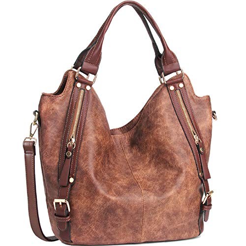 JOYSON Women Handbags Hobo Shoulder Bags Tote PU Leather Handbags Fashion Large Capacity Bags Coffee