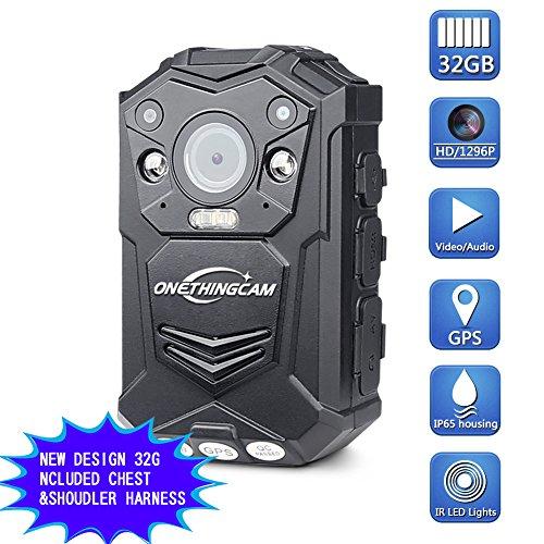 onething Cuerpo cámara Policía cámara Full HD 1296P 30fps 64G Memoria han 140Grados de ángulo Ancho Lente de visión Nocturna y GPS