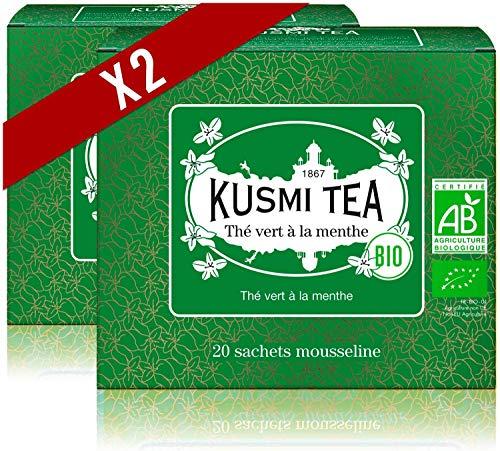 Kusmi Tea Grüner Tee mit Minze BIO- Heiß oder Eisgekühlt Genießen - Traditionell Durstlöschender Tee mit Gunpowder Grüntee und Minzblättern - 2 Boxen - 2x20 Mousseline Teebeutel - Etwa 40 Tassen