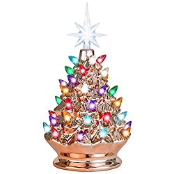 Champagne rose gold ceramic Christmas tree