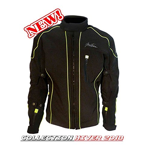 MITSOU Chaqueta Moto Hombre softhell 2Talla XL 42Negro Ribete Verde/Amarillo...